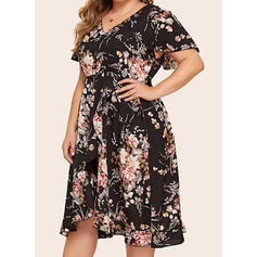 Print/Floral Short Sleeves A-line Knee Length Casual/Elegant/Plus Size Dresses