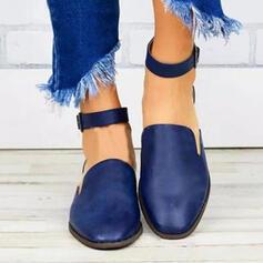 De mujer PU Tacón ancho Planos Encaje con Hebilla zapatos