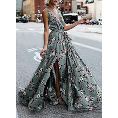 Print/Floral Sleeveless A-line Casual/Boho/Vacation Maxi Dresses