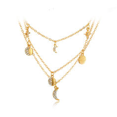 Simple Alloy Rhinestones Necklaces