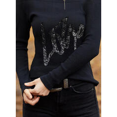 Sequins Figure Cold Shoulder Long Sleeves Casual Knit Blouses