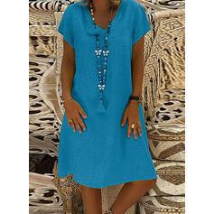 Solid V-neck Knee Length Shift Dress