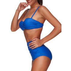 Yksivärinen Hihna Urheilu Plus-koko Bikinit Uima-Asut