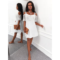 Solid Lace 1/2 Sleeves Cold Shoulder Sleeve A-line Knee Length Elegant Skater Dresses