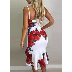 Print/Floral Sleeveless Sheath Knee Length Sexy/Party Dresses