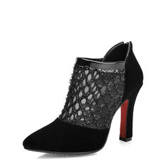 Women's Leatherette Chunky Heel Ankle Boots With Stitching Lace Zipper shoes