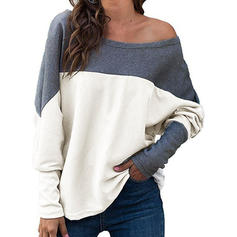 Color Block One-Shoulder Long Sleeves Casual Knit Blouses