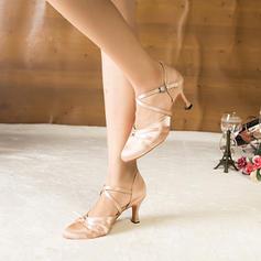 Women's Satin Heels Sandals Pumps Ballroom Dance Shoes