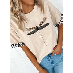 Estampado de animales Leopardo Cuello Redondo Manga Corta Camisetas