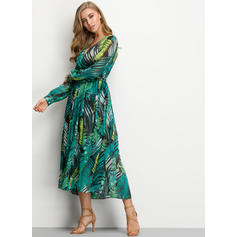 Floral Long Sleeves A-line Maxi Casual/Elegant/Vacation Dresses