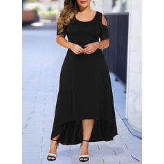 Solid Short Sleeves A-line Asymmetrical Little Black/Casual Skater Dresses
