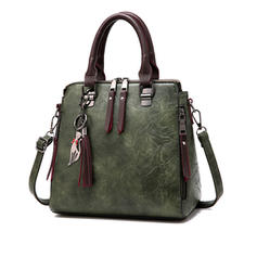 Women Vintage PU Leather Tassel Handbag Crossbody Shoulder Bag