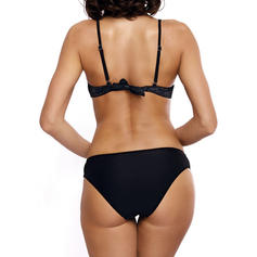 Color Sólido Ata para arriba Correa Elegante De Moda Bikinis Trajes de baño