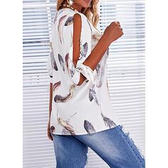 Print Cold Shoulder 1/2 Sleeves Cold Shoulder Sleeve Casual Blouses