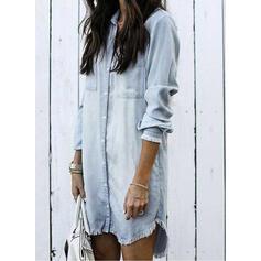 Sólido Manga Larga Tendencia Sobre la Rodilla Casual Camisa Vestidos