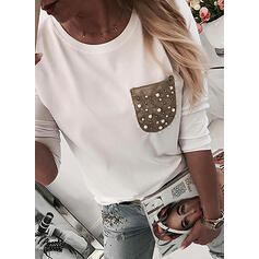 Beaded Color Block Round Neck Long Sleeves T-shirts