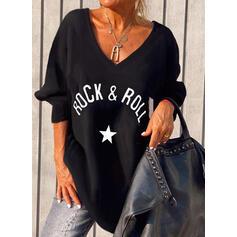 Nadruk Wytłaczany Dekolt w kształcie litery V Długie rękawy T-shirty