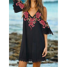 Lace/Print/Floral Cold Shoulder Sleeve Shift Above Knee Casual/Vacation Dresses