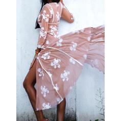 Impresión/Floral Mangas 3/4 Acampanado Patinador Elegante Maxi Vestidos