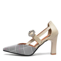 Women's PU Chunky Heel Pumps With Beading Buckle shoes
