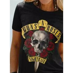 印刷 フローラル 図 ラウンドネック 半袖 カジュアル ハロウィーン Tシャツ