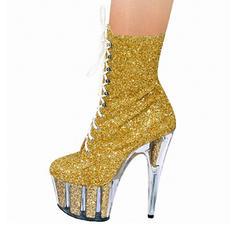 Donna Glitter scintillanti Tacco a spillo Stiletto Piattaforma Stivali con Cerniera Allacciato scarpe