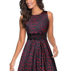 Lace/Print/Floral Sleeveless A-line Knee Length Casual/Elegant Skater Dresses
