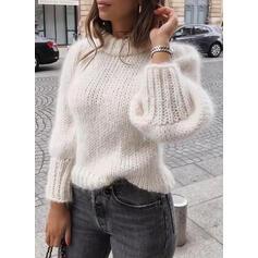 Einfarbig Rundhals Freizeit Pullover