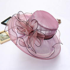 Ladies' Charming Organza With Silk Flower Floppy Hat