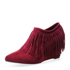 Women's Suede Wedge Heel Pumps Closed Toe Wedges Boots Ankle Boots With Chain Tassel shoes