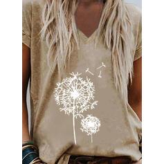 Mlecz Nadruk Dekolt w kształcie litery V Krótkie rękawy T-shirty