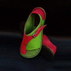 Women's PU Flat Heel Sandals Flats Peep Toe With Split Joint shoes