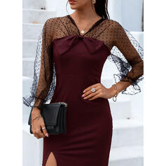 Solid Long Sleeves Sheath Above Knee Party/Elegant Dresses