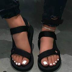 Femmes Tissu Talon plat Sandales avec Velcro chaussures