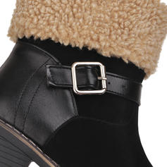 Women's Leatherette Chunky Heel Boots Ankle Boots Snow Boots With Buckle shoes