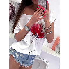 Floral Round Neck Short Sleeves Casual T-shirts