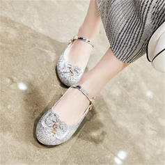 Women's Sparkling Glitter Chunky Heel Pumps Mary Jane With Bowknot shoes