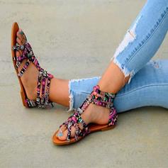 Kvinner Microfiber Lær Flat Hæl Sandaler Flate sko Titte Tå med Annet sko