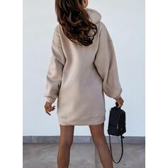 Nadruk/Wytłaczany Długie rękawy Dropped Shoulder Suknie shift Nad kolana Nieformalny Bluza Sukienki