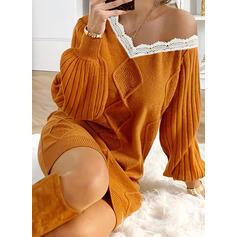 Μονόχρωμο Πλέξη Καλώδιο Мереживо V-λαιμός Καθημερινό Μακρύ Φόρεμα Πουλόβερ