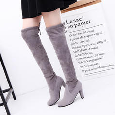Women's PU Stiletto Heel Chunky Heel Boots Knee High Boots With Lace-up shoes