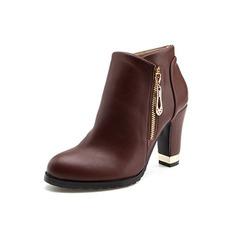 Mulheres Couro Salto robusto Plataforma Bota no tornozelo com Zíper sapatos