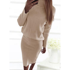 Solid Long Sleeves Bodycon Sweater Little Black/Casual/Elegant Midi Dresses