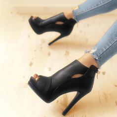 Women's PU Stiletto Heel Sandals Peep Toe With Zipper shoes