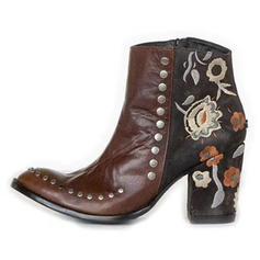 Women's PU Chunky Heel Ankle Boots With Rivet Zipper Flower shoes