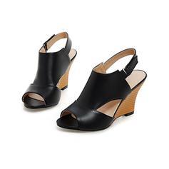 Női Műbőr Ékelt sarkú Szandál Ékelt szandál Peep Toe Zárt szandál -Val Hálós ruha cipő