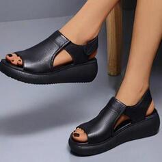 De mujer PU Tipo de tacón Sandalias con Velcro Color sólido zapatos