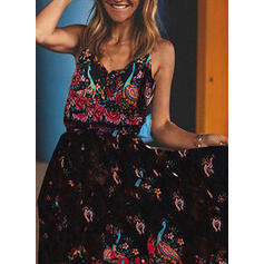 Print/Floral Sleeveless A-line Casual/Vacation Midi Dresses
