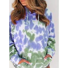 Batik boya Uzun kollu Kapüşonlu svetşört