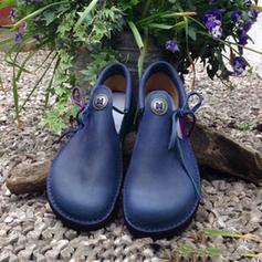 Donna PU Senza tacco Ballerine con Allacciato Bottone scarpe